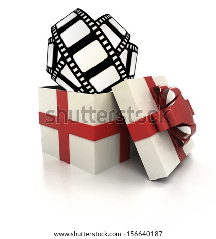 mysterious magic gift with movie tape render illustration