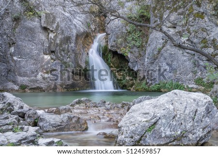 Mythological Orpheus Spring with cool pond on ancient Helicon (Baphyras, Ourlia, Helikon) River. Mount Olympus, Pieria, Greece.