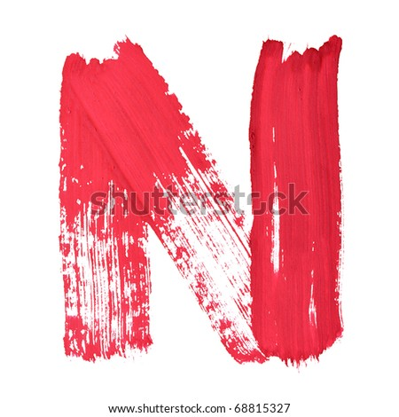 N - Red handwritten letters over white background