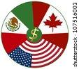 NAFTA, North American Free Trade Agreement between Canada, Mexico, USA - stock photo