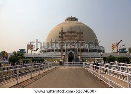 NAGPUR, INDIA - NOV 13: Unidentified people visit the Buddhist monument Deeksha Bhoomi on November 13, 2016 in Nagpur, India. It is an important Buddhist pilgrim place in India.