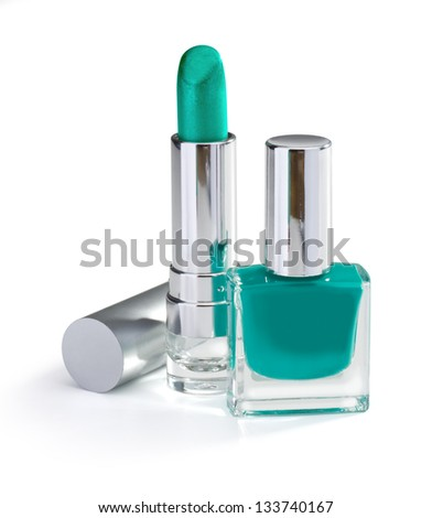 nail polish and lipstick emerald color isolated