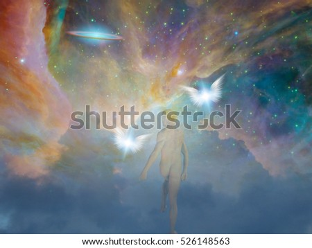 Naked man in universe   3D Render  Some elements provided courtesy of NASA