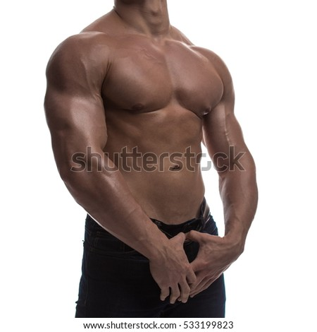 naked torso male bodybuilder athlete in the studio on a white background