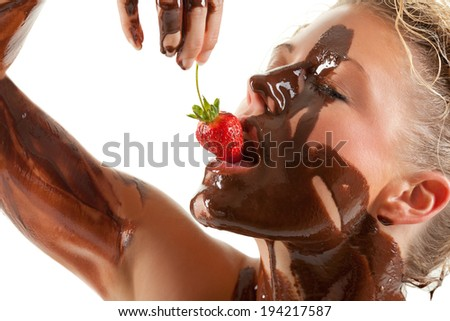 naked woman covered in cream