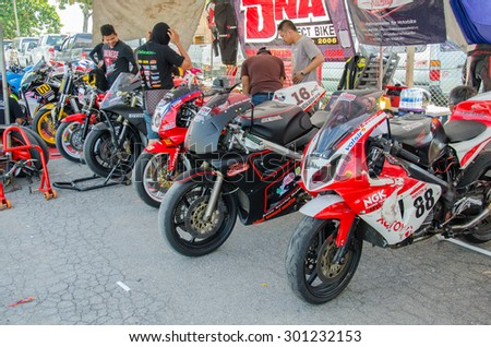 NAKHON PATHOM - JULY 25 : Motorcycle in pit on display in Thailand SuperBikes Championship 2015 Round 1 at Thailand Circuit, on July 25, 2015 in Nakhon Pathom, Thailand.