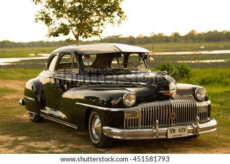 Nakhon Ratchasima, THAILAND - JUNE 13 : Vintage car Desoto is a rare old car in the 1948 season. on JUNE 13, 2016 in Nakhon Ratchasima Thailand. is Editorial