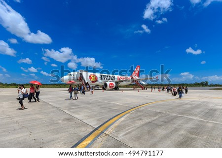NAKHON SI THAMMARAT, THAILAND - FEB 27: Air Asia at Nakhon Si Thammarat Airport on Feb 27, 2015.
