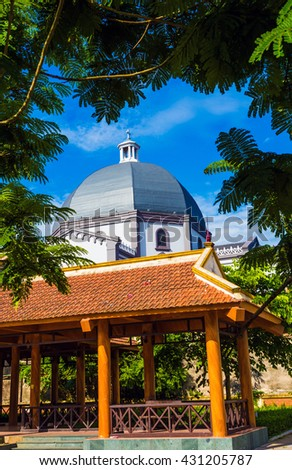 NAMDINH ,VIETNAM - JUNE 4 , 2016 : Khoai Dong Church built in the style of Gothic stock is considered to be one of the most unique architecture in Vietnam