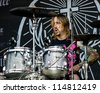 NAMPA, IDAHO - SEPTEMBER 25: Brian Dugan the drummer of candlelight red fame pounding out the drums at the Rockstar Uproar Festival on September 25 2012 in Nampa, Idaho. - stock photo
