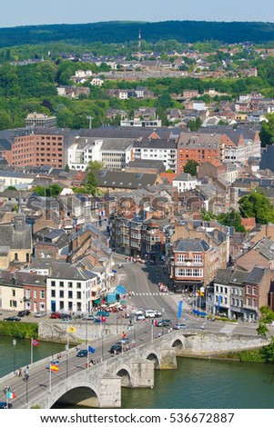 NAMUR, BELGIUM - JUNE 1, 2009: View on the center of Namur in Belgium, capital of Wallonia, with the bridge over the River Meuse