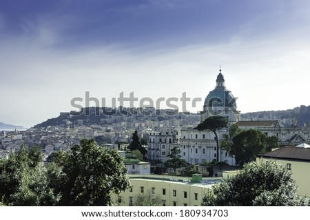 Naples scenic view at sundown with its churches domes, Italy