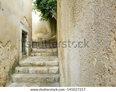 Narrow street in Croatian village, Nerezine