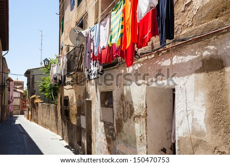 Narrow street of old town. Huesca, Aragon