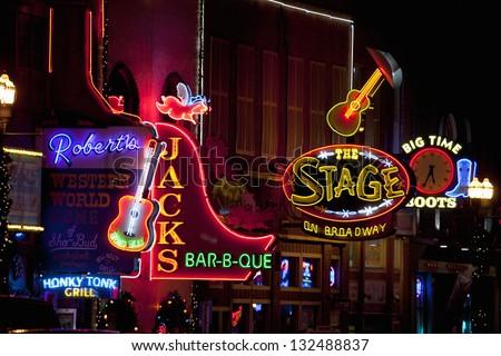 Nashville December 03 Neon Signs On Lower Broadway Area
