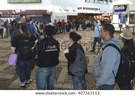 NASHVILLE, TN-APRIL 18, 2016:  Hundreds of passengers wait in the TSA security line at Nashville International Airport. The number of agents has failed to keep up with the increased passenger count.