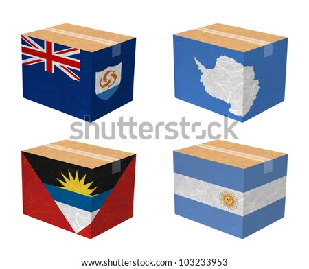 Nation Flag. Box recycled paper on white background. ( Anguilla , Antarctica , Antigua and Barbuda , Argentina )