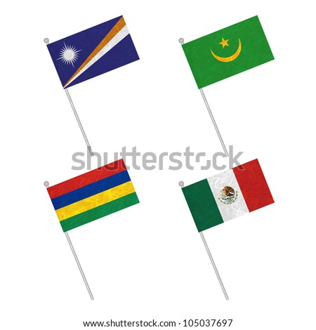 Nation Flag. Flag pole recycled paper on white background. ( Marshall Islands , Mauritania , Mauritius , Mexico )
