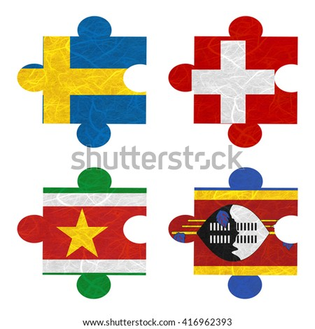 Nation Flag. Jigsaw recycled paper on white background. ( Suriname , Swaziland , Sweden , Switzerland )