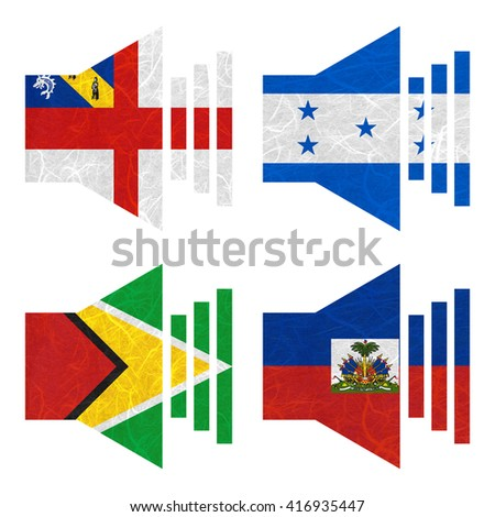 Nation Flag. Sound recycled paper on white background. ( Guyana , Haiti , Herm , Honduras )
