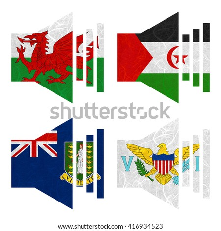 Nation Flag. Sound recycled paper on white background. ( Virgin Islands - UK , Virgin Islands - US , Wales , Western Sahara )