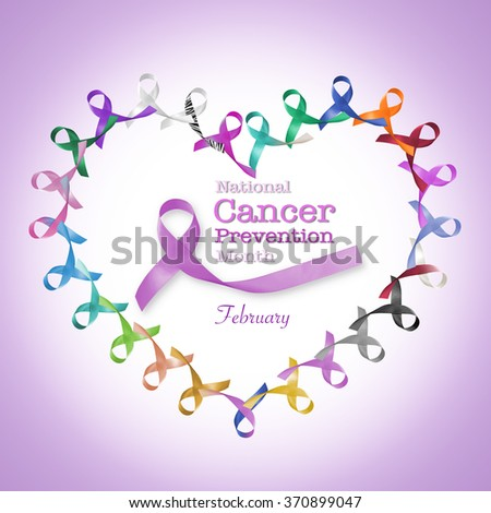 National cancer prevention month February text message in heart cycle of multi-color & lavender purple colour symbolic ribbons raising awareness of all kind tumors supporting people living w/ illness