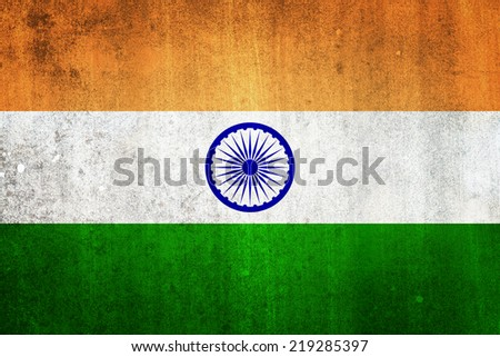 National flag of India. Grungy effect.