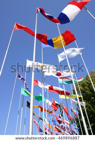 National flags flutters freely