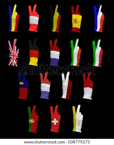National flags of Western Europe countries on a black background