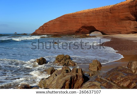 Natural arch on Legzira Beach in Morocco