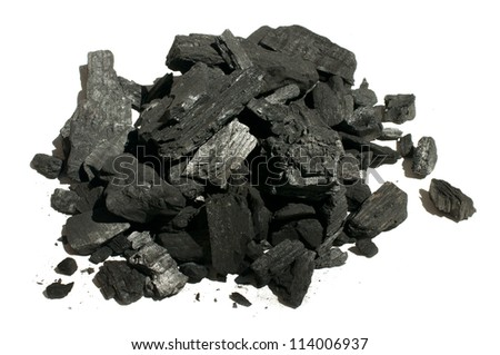 Natural charcoal close up. White isolated