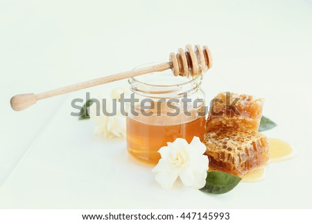 Natural food. Delicious honey in a jar