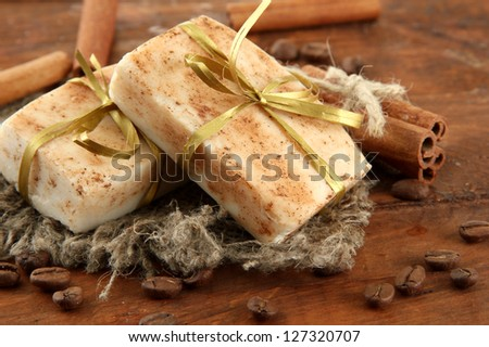 Natural handmade soap, on wooden background
