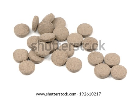 Natural Herbal Pills Isolated on White Background