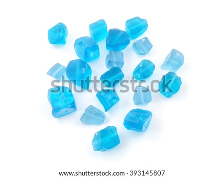 natural mineral gem stone - blue toned quartz gemstone isolated on white background close up