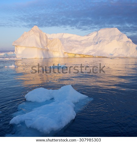 Nature and landscapes of Greenland. Travel on the scientific vessel among ices. Studying of a phenomenon of global warming. Ices and icebergs of unusual forms and colors.