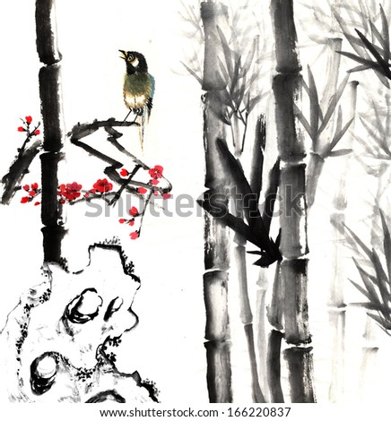 nature,Chinese element--plant,bamboo, plum blossom and stone with bird