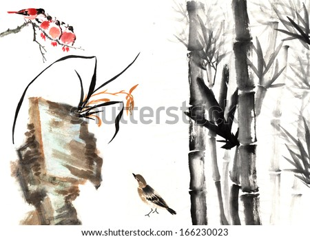 nature,Chinese element--plant,bamboo, plum blossom, orchid and stone with bird