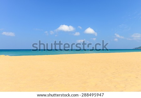Nature scene tropical beach and blue sky in Karon beach Phuket, Thailand