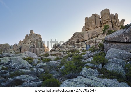 Navajuelos cliffs in the Pedriza. Regional Park of the Cuenca Alta del Manzanares. Sierra de Guadarrama. Manzanares el Real. Madrid. Spain. Europe.