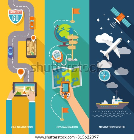 Navigation GPS routing system vertical  flat banners set with aircraft vessel position velocity detector abstract  illustration