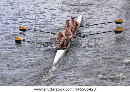 Navy BOSTON - OCTOBER 18, 2015: Navy races in the Head of Charles Regatta Women's  Fours [PUBLIC RACE]