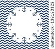 Navy round frame with anchors on a chevron background. Raster version, vector file also available in my port. - stock photo