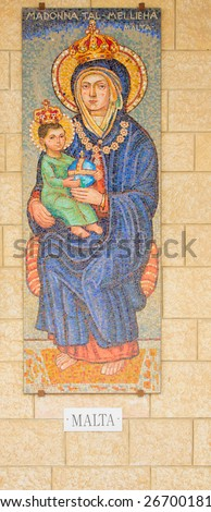 NAZARETH, ISRAEL - APR 05, 2015: A Mosaic donated by the people of Malta, part of a display of donations of many nations, in the Church of Annunciation, in Nazareth, Israel