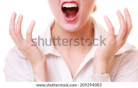 Negative emotions. Open mouth of angry mad businesswoman crazy boss furious woman screaming isolated on white. Stress in work.