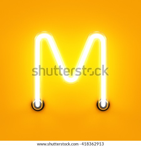 Neon light alphabet character M font. Neon tube letters glow effect on orange background. 3d rendering