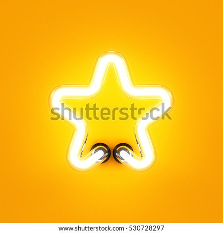 Neon light alphabet character star font. Neon tube letter glow effect on orange background. 3d rendering