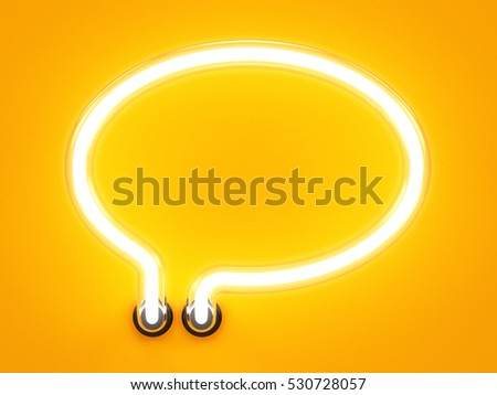 Neon light alphabet speech bubble message mark sign. Neon tube letters glow effect on orange background. 3d rendering