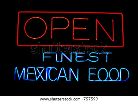 Neon Mexican Food Sign