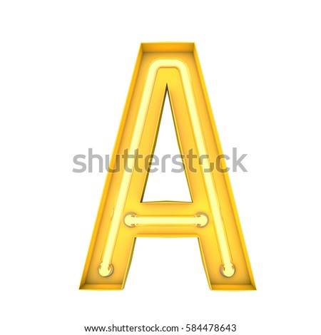 Neon Style Light Letter A Glowing Stock Illustration
